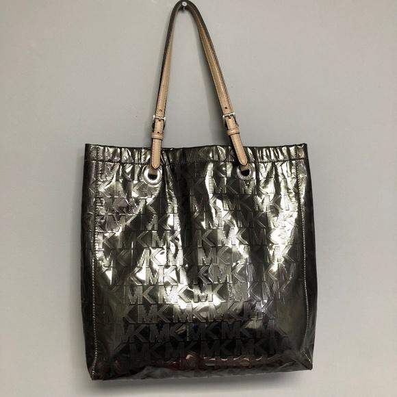 8b00c251723c Michael Kors Bags | Mk Signature Mirror Metallic North South Tote ...